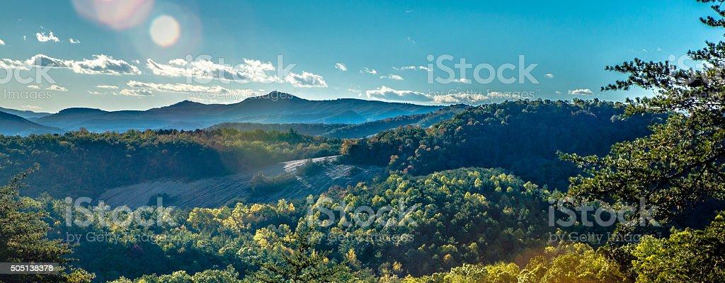 autumn foliage on blue ridge parkway near stone mountain  north stock photo
