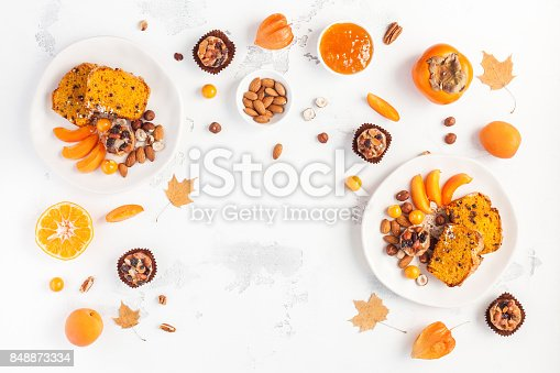 istock Autumn food on white background. Flat lay, top view 848873334