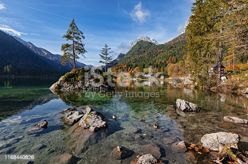 Autumn forest on Hintersee lake, Berchtesgaden, Germany.