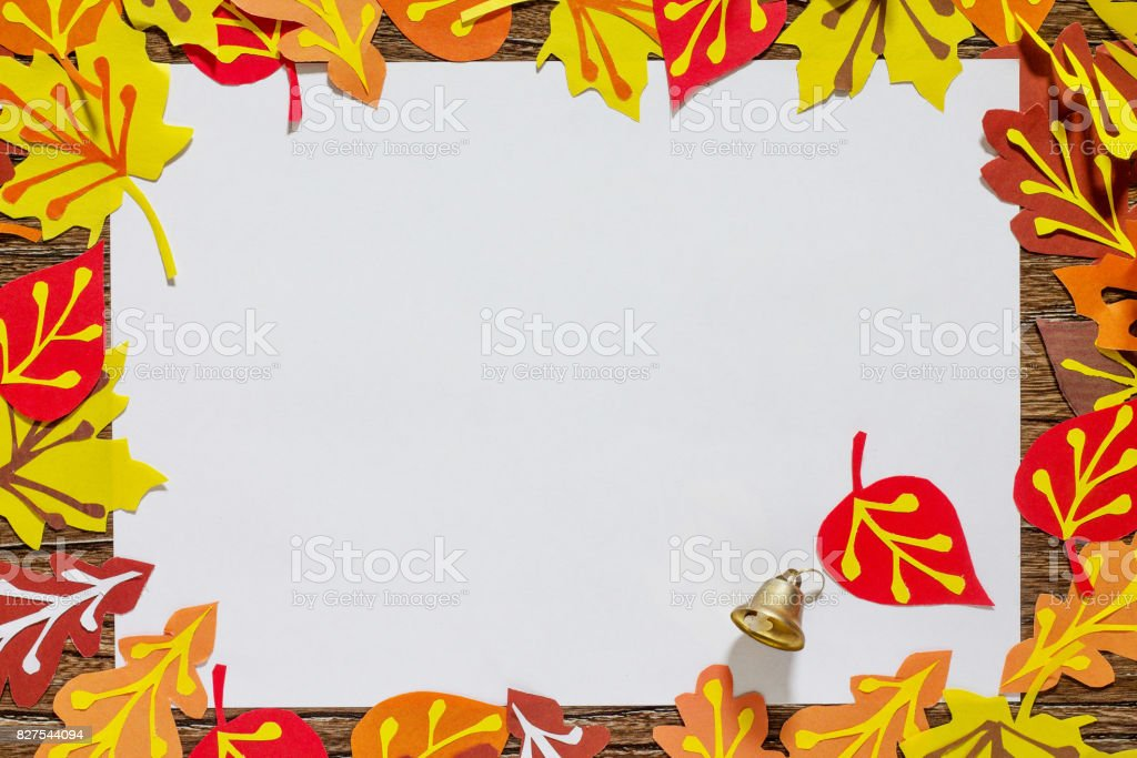 Autumn Frame Colorful Leaves Of Trees Childrens Art Project Craft ...