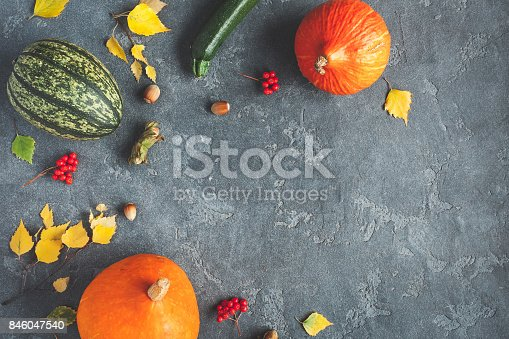 istock Autumn frame made of pumpkins.  Flat lay, top view 846047540