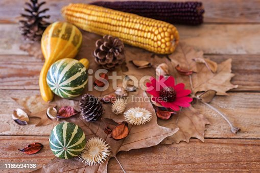 Autumn fruits at wood board, close-up, no people
