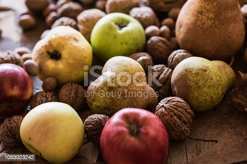 Autumn fruits background at wood board. Close up