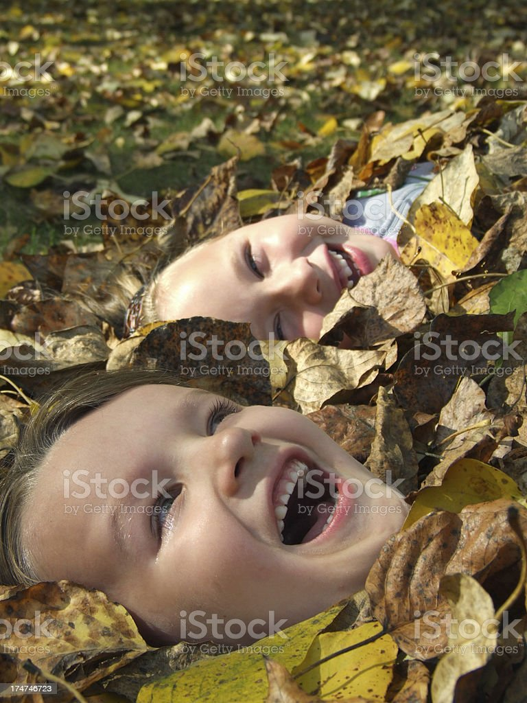 Autumn fun in the leaves royalty-free stock photo