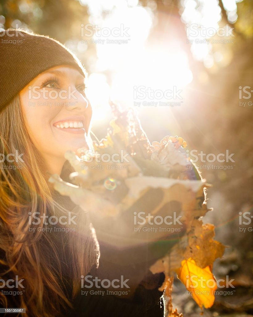 Autumn fun with leaves royalty-free stock photo