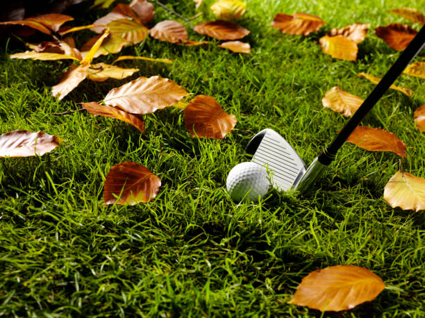 Autumn Game of Golf with Ball and Club stock photo