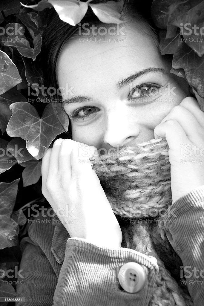Autumn Girl #1 (B&W) royalty-free stock photo