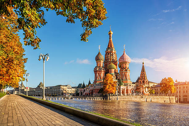 autumn gold by the eyes of cathedral - russia stock pictures, royalty-free photos & images