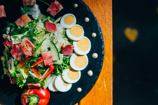 Autumn Green Salad With Eggs Stock Photo - Download Image Now