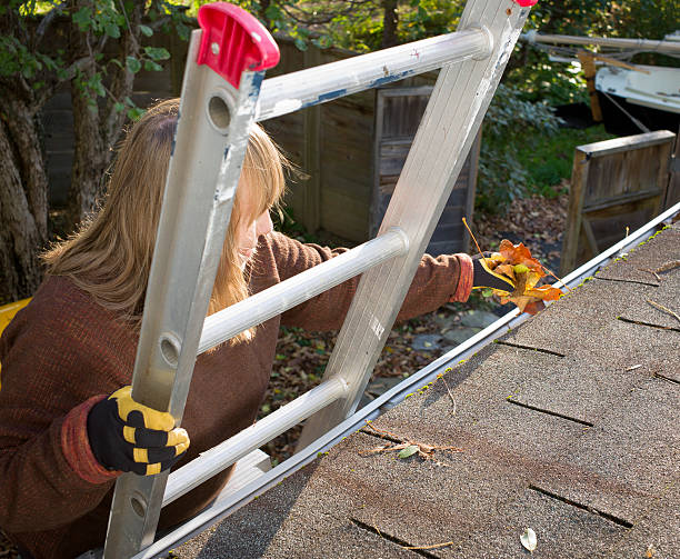Autumn Gutter or Eavestrough Cleaning Senior Woman. stock photo