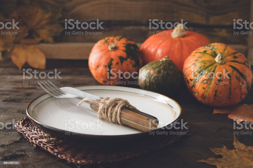 Halloween Dinner Table Setting.Autumn Halloween Or Thanksgiving Day Table Setting
