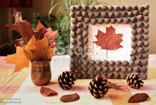 istock Autumn handmade frame from acorn's hat 485810538