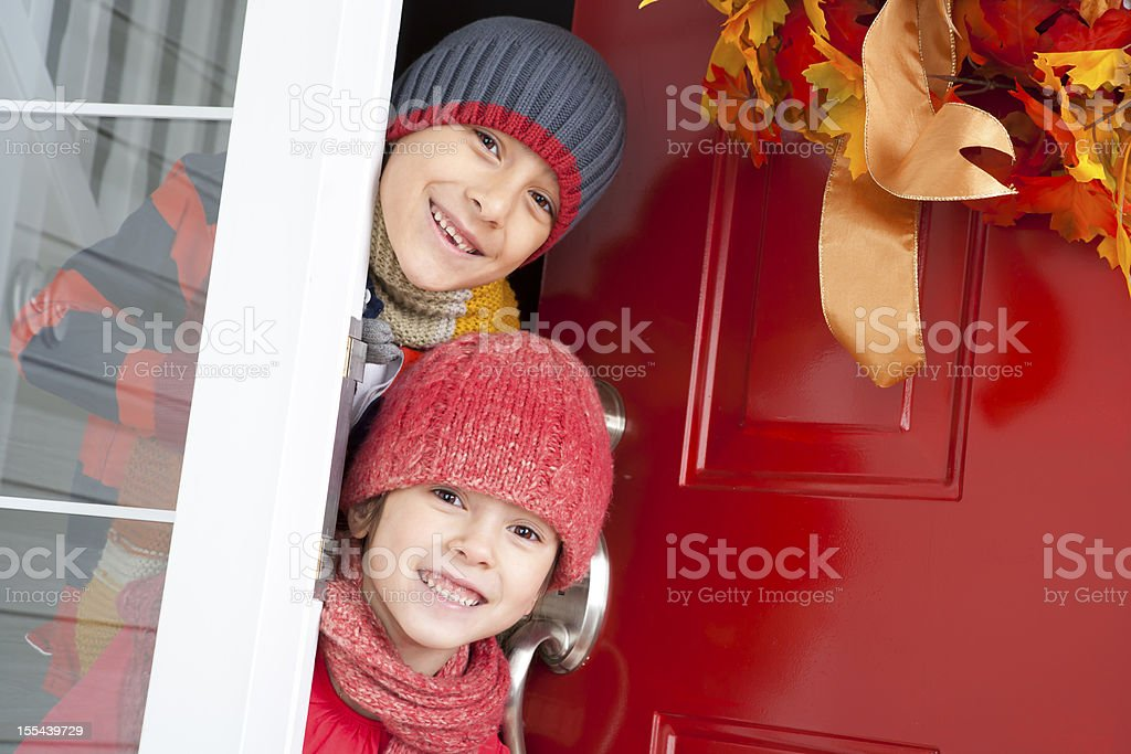 Autumn- Happy sibling hugging royalty-free stock photo