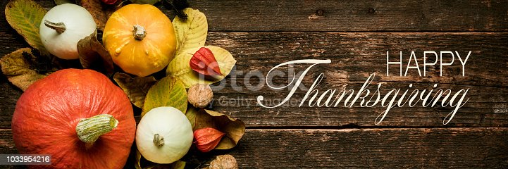 istock Autumn Harvest and Holiday still life. Happy Thanksgiving Banner. Selection of various pumpkins on dark wooden background. Autumn vegetables and seasonal decorations. 1033954216