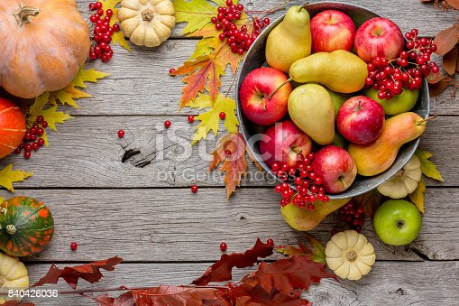 istock Autumn harvest and thanksgiving card background 840426036