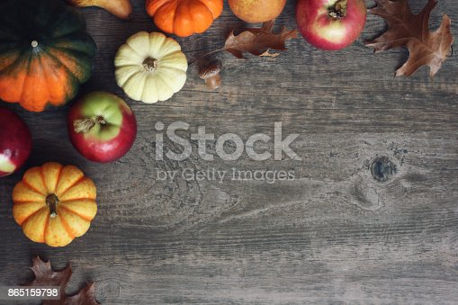 istock Autumn Harvest Background with Apples, Pumpkins, Pears, Leaves and Acorn Squash Border Over Wood, Shot Directly Above 865159798