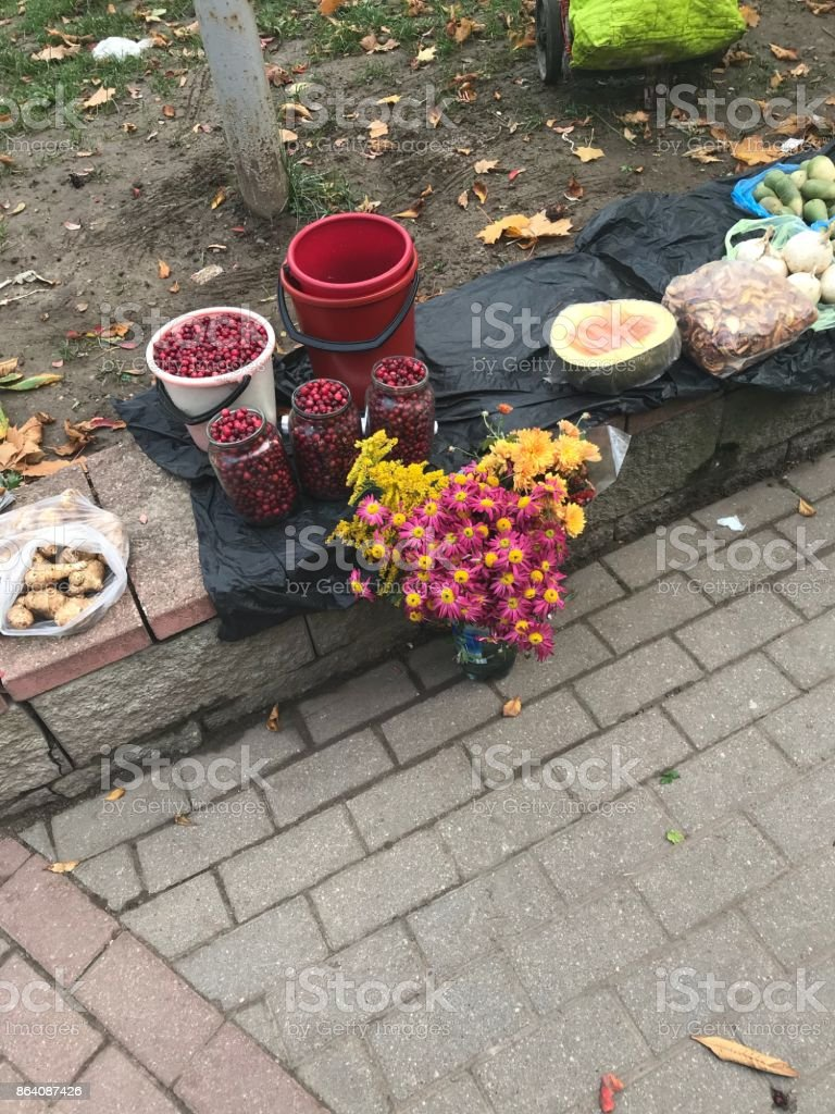 Autumn harvest is sold at a spontaneous fair. royalty-free stock photo