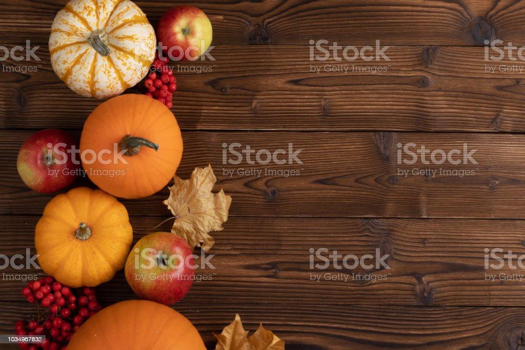 Autumn harvest on wooden table stock photo