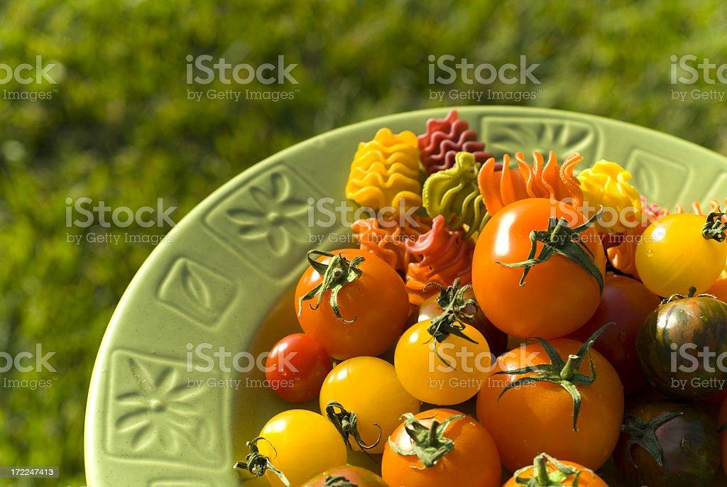 Autumn Heirloom Tomatoes & Pasta royalty-free stock photo