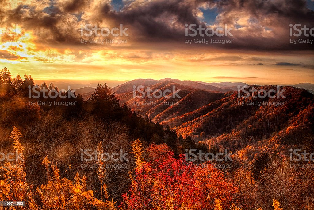 Autumn Hillsides in the Smokies stock photo
