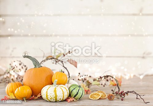 Autumn pumpkins, gourds and holiday decor arranged against an old white wood background with glowing and sparkly Christmas lights. Very shallow depth of field for effect.