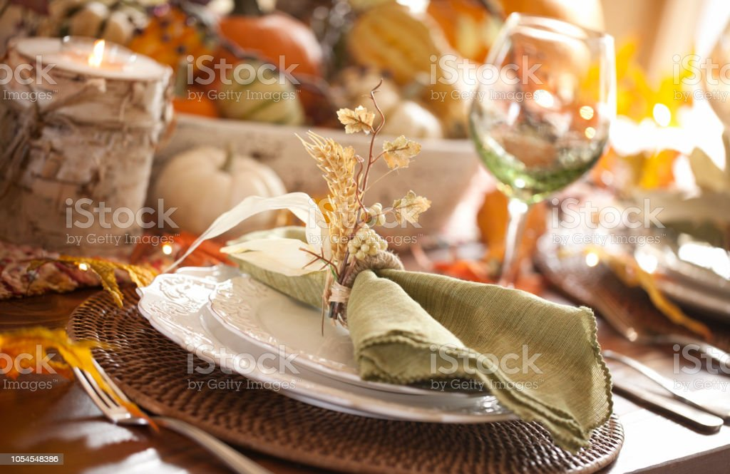 Autumn holiday Thanksgiving dining with beautiful traditional...