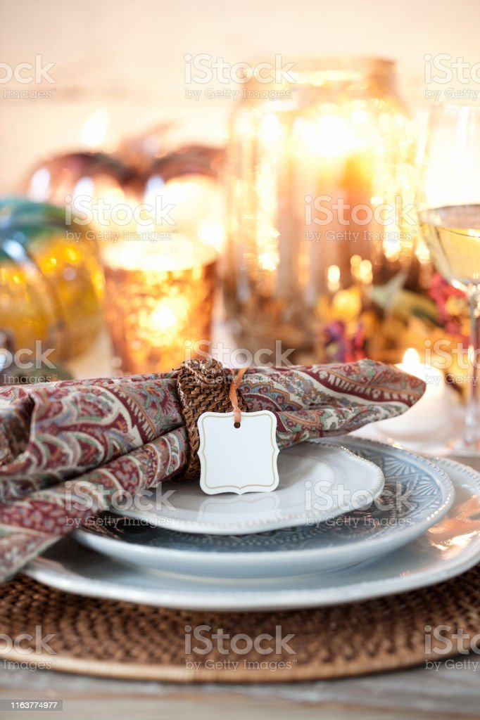 Autumn holiday Thanksgiving dining with a beautiful paisley print...