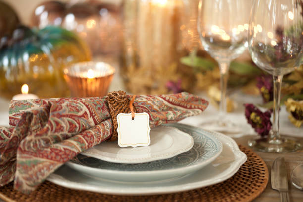 autumn holiday thanksgiving dining place setting with place card - blue table setting stock photos and pictures