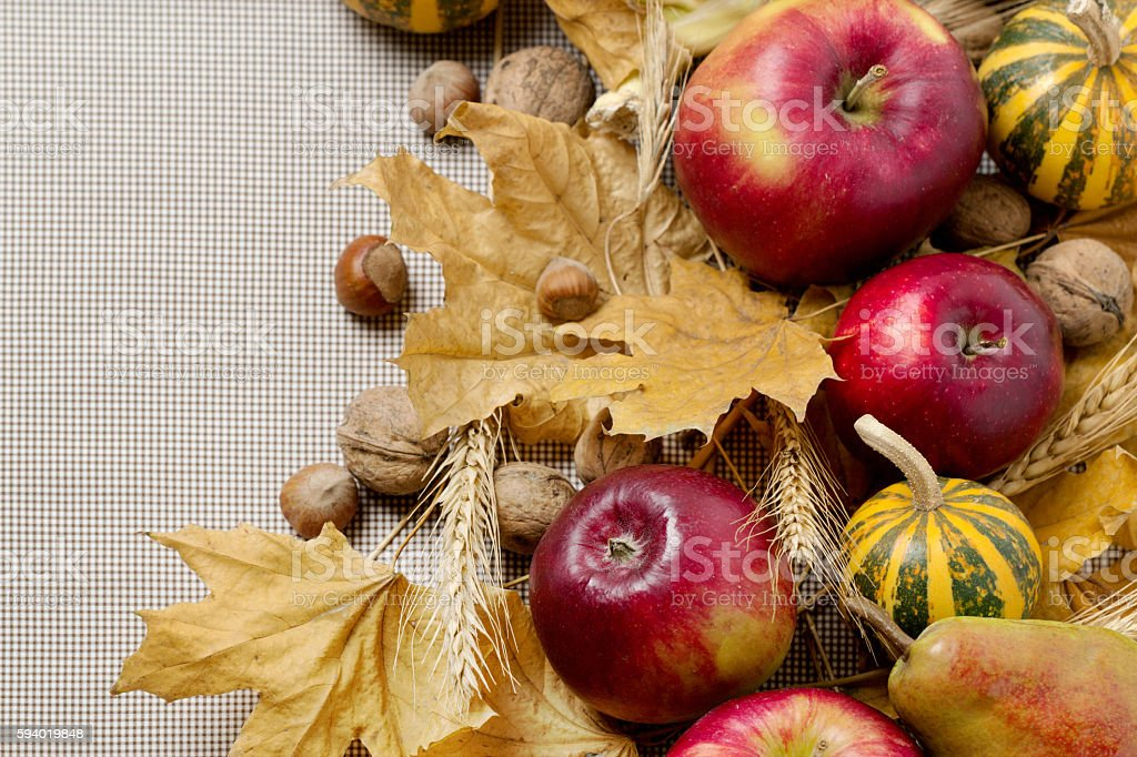 Autumn holiday Thanksgiving. Still life with pumpkin and apples,...