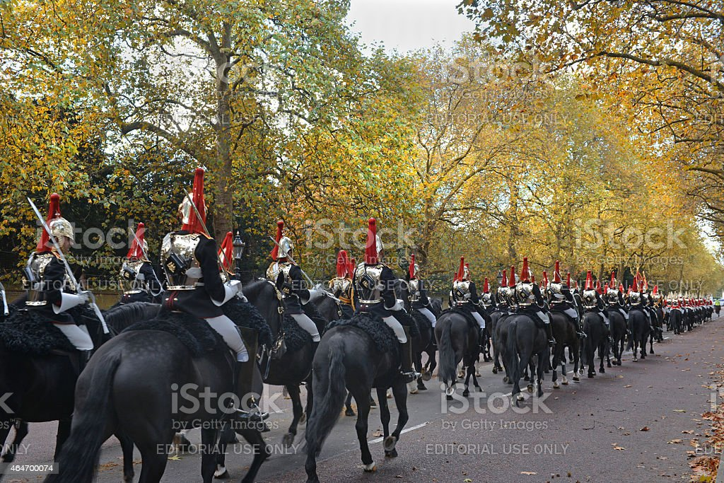 Autumn Horse guards stock photo