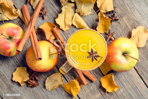 578566044 istock photo Autumn hot and spicy drink with pumpkin and orange juice on the rustic background 1186435355