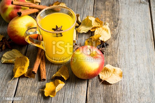 578566044 istock photo Autumn hot and spicy drink with pumpkin and orange juice on the rustic background 1186435357