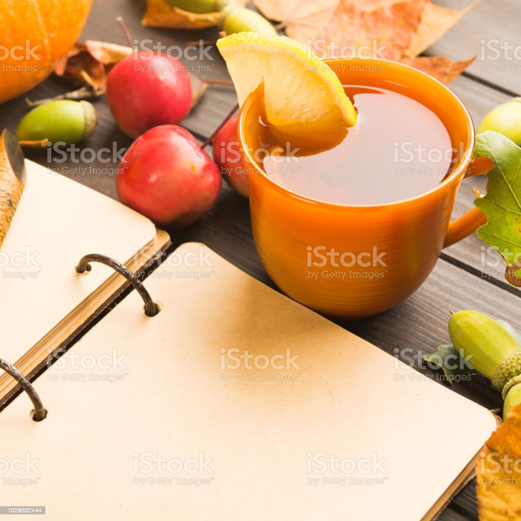 Autumn hot drink with lemon in cup with apples and open vitage old empty book stock photo