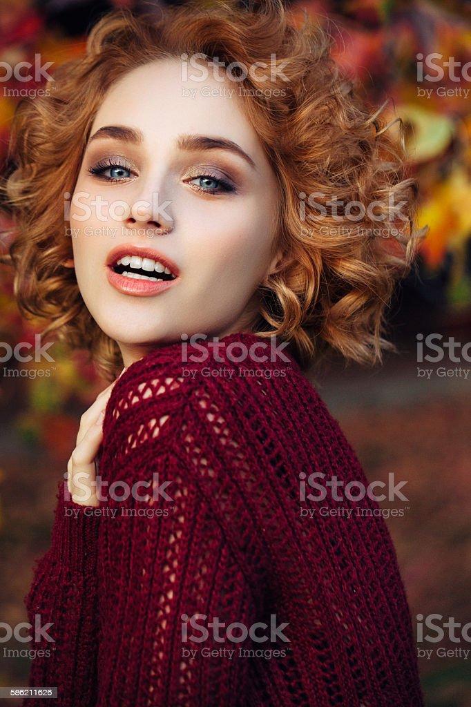 Autumn зhoto of a beautiful girl stock photo