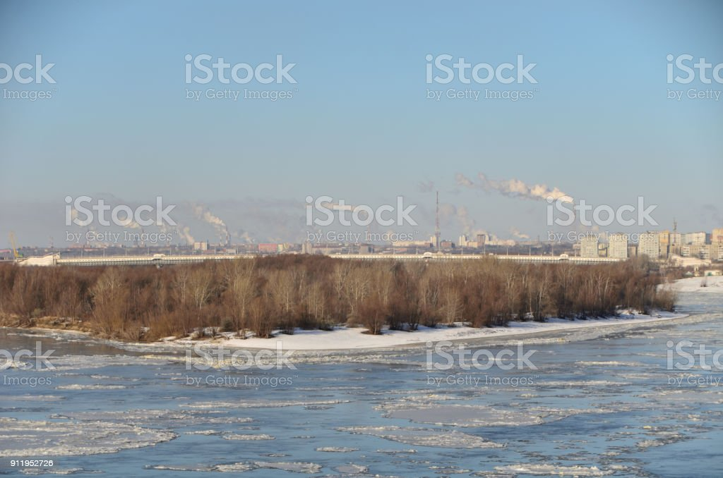 Autumn ice drift on the Irtysh River, Omsk region, Siberia, Russia стоковое фото