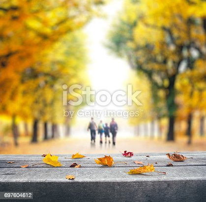 Autumn leaves lying on wooden bench. Defocused family walking through the autumn park.