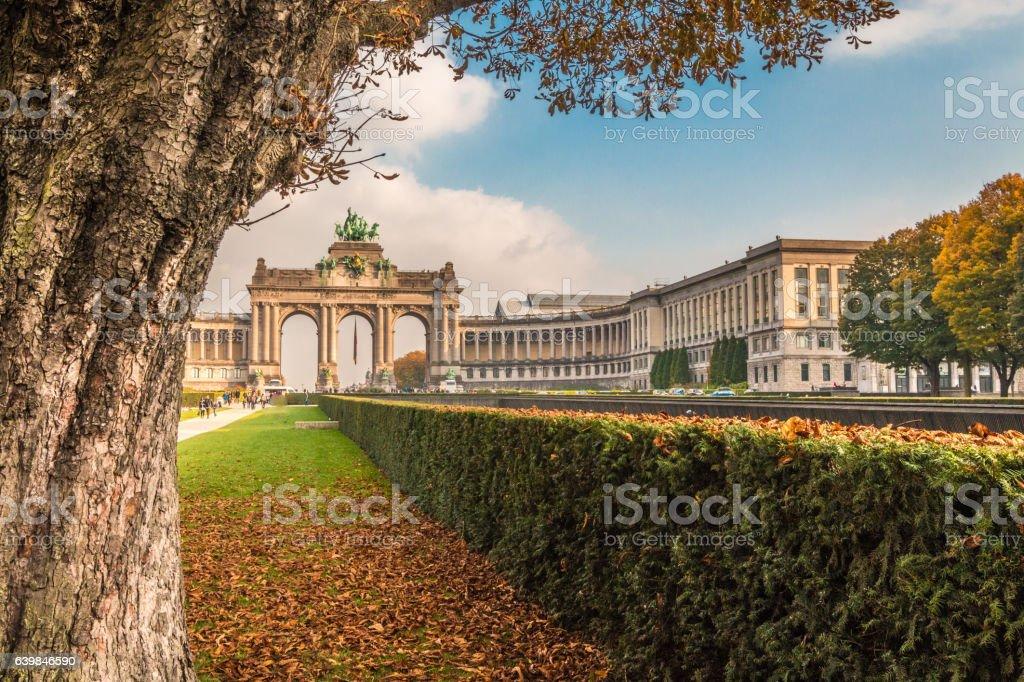 Autumn in Arch de Triumph in Brussels stock photo