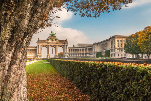 Autumn in Arch de Triumph in Brussels Brussels in Belgium brussels capital region stock pictures, royalty-free photos & images