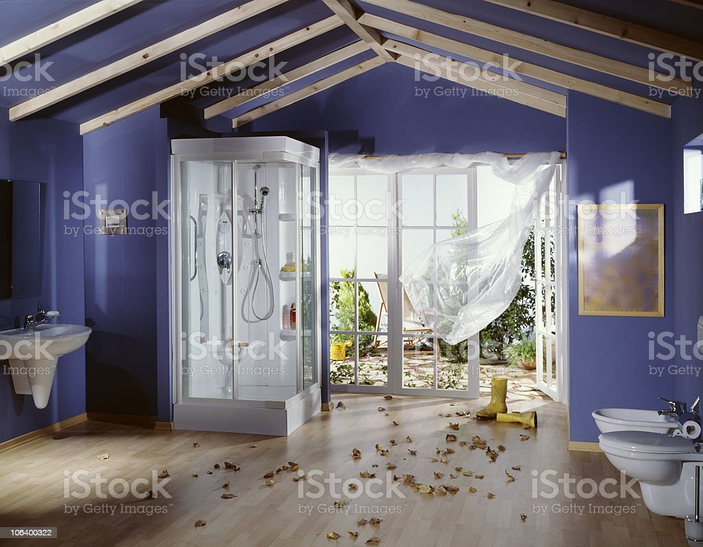 Autumn in Bathroom stock photo
