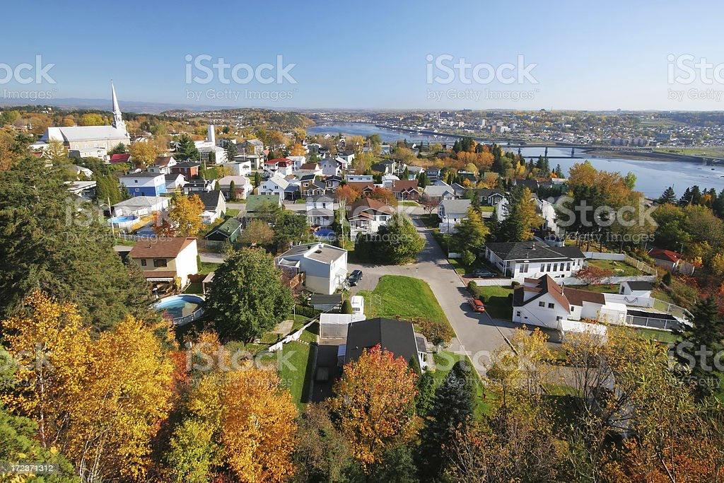 Autumn in Chicoutimi City stock photo