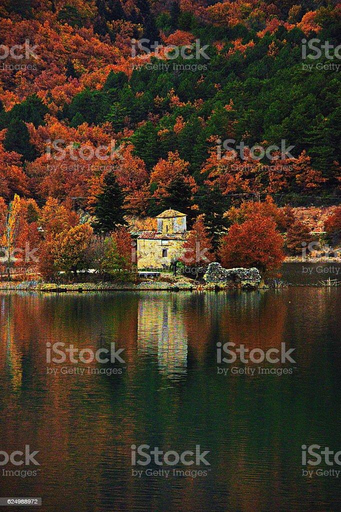 Autumn in Doxa lake, Greece. stock photo