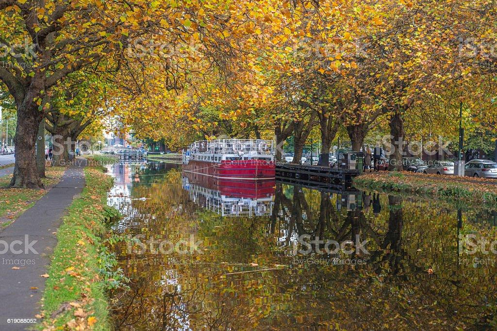 Autumn in Dublin grand canal, Dublin, Ireland. stock photo