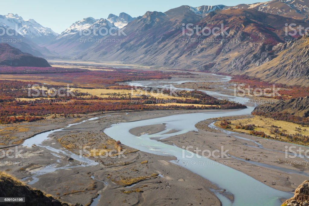 Autumn in Fitz Roy Moutain, Patagonia, El Chalten - Argentina stock photo