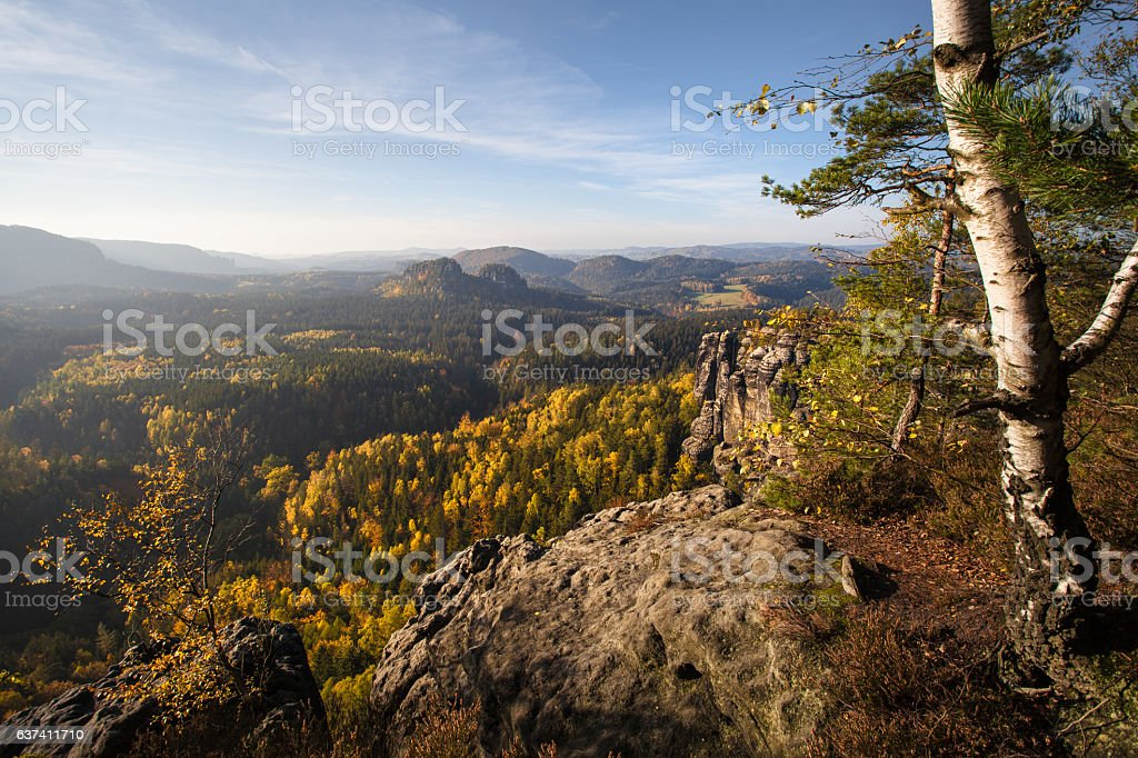 Autumn in german Mountains and Forests - Saxon Switzerland stock photo