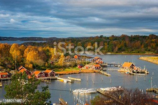 Idyllic fishing village in autumn.