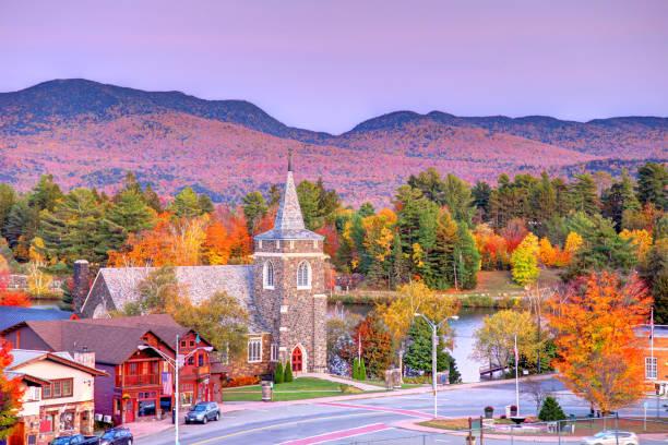 Autumn in Lake Placid, New York stock photo