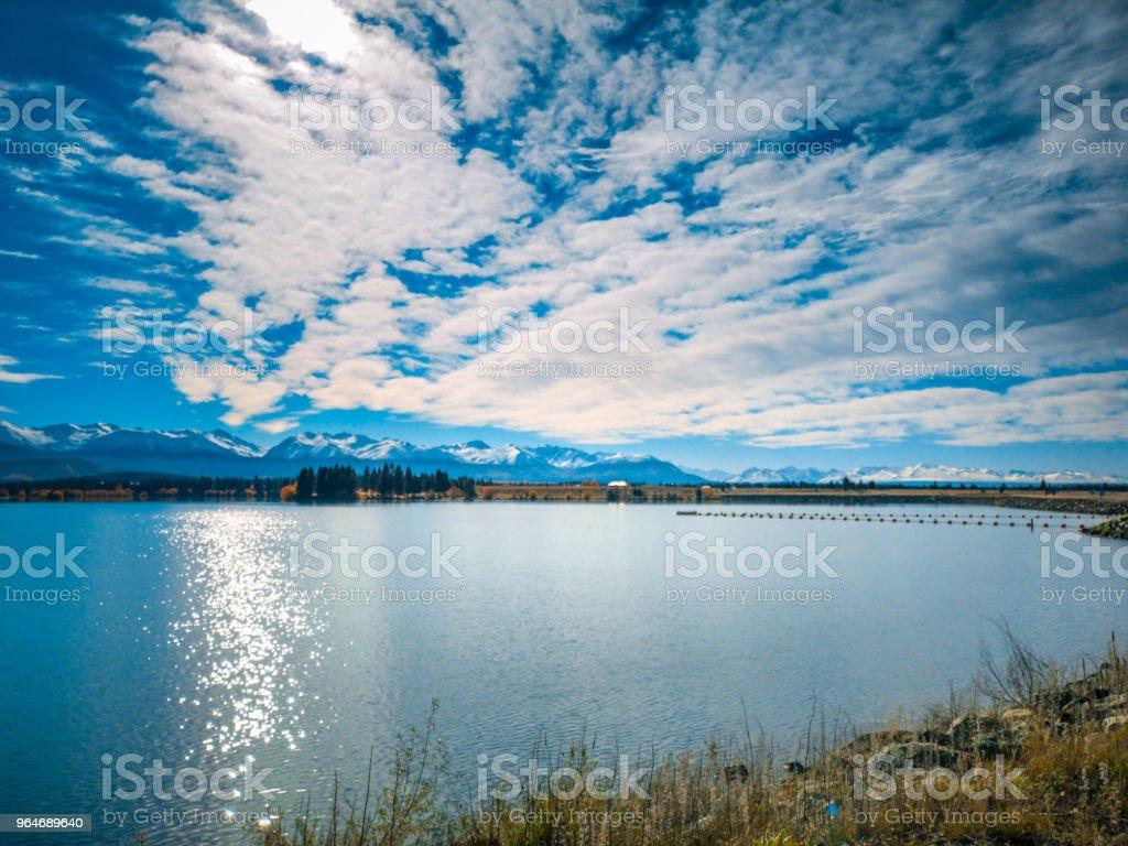 Autumn in Lake Pukaki , south Island, New Zealand landscape royalty-free stock photo