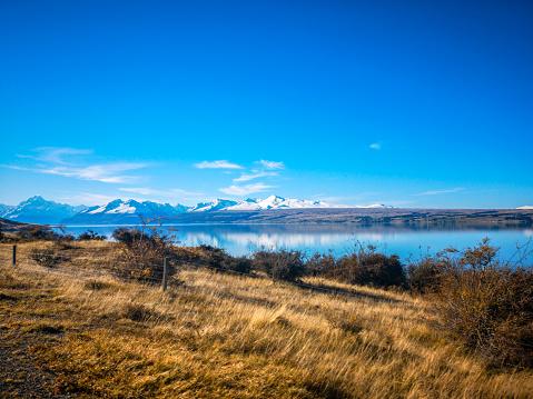 Photo libre de droit de Automne Dans Le Lac Pukaki Île Du Sud La Nouvellezélande Paysage banque d'images et plus d'images libres de droit de {top keyword}