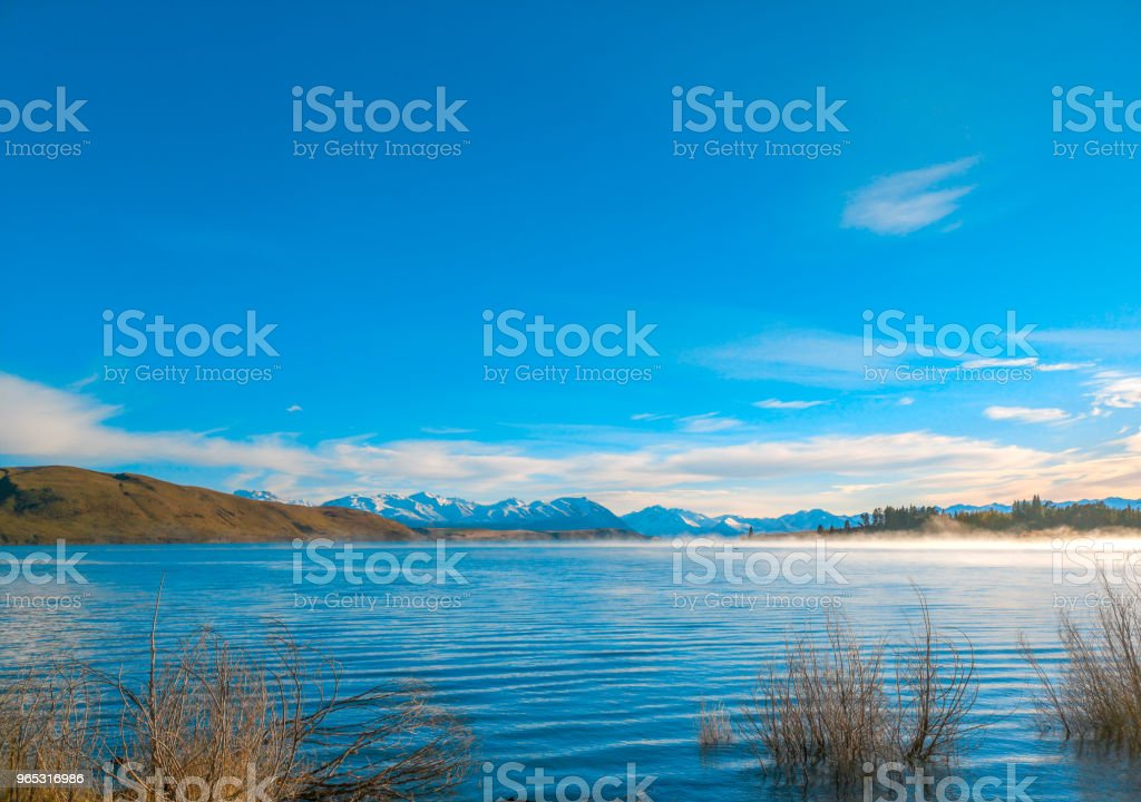 Autumn in Lake Pukaki , south Island, New Zealand landscape royalty-free stock photo