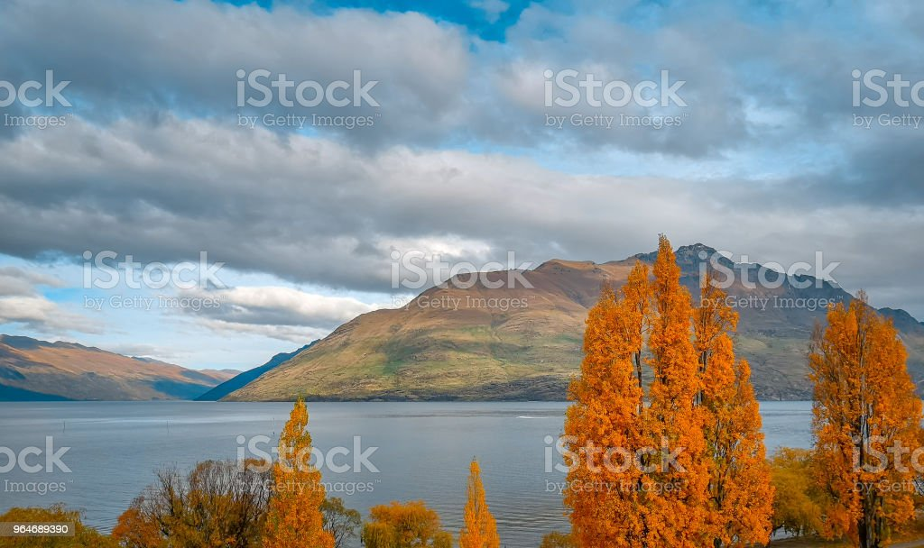 Autumn in Lake Wakatipu, Queenstown New Zealand landscape royalty-free stock photo